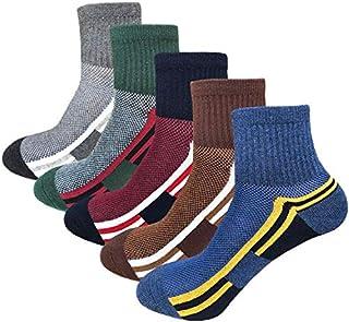 Men's Athletic Running Hiking Socks Performance Ventilation Cotton Mid Cut Quarter Crew Socks