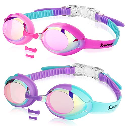 Keary 2 Pack Kids Swim Goggles Swimming Goggles for Toddler Children Girls Boys Youth, Anti-Fog Waterproof Anti-UV Clear Vision Mirror Flat Lens Water Pool Goggles with 3 Nose Piece, Pink Kids Goggles