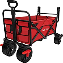 BEAU JARDIN Folding Wagon Cart with Brakes Free Standing Collapsible Utility Camping Grocery Canvas Fabric Sturdy Portable Rolling Buggies Outdoor Garden Sport Heavy Duty Shopping Cart Push Wagons Red