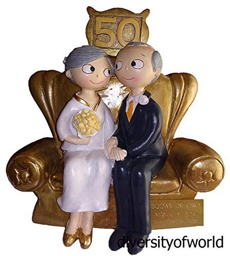diversityofworld Figura Bodas de Oro Personalizada Figura GRABADA Tarta 50 Aniversario