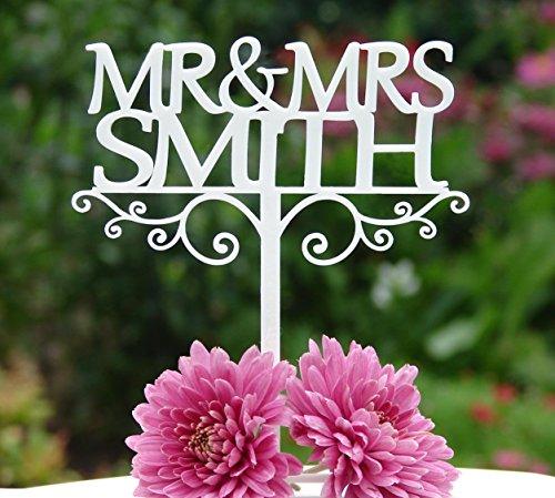 """""""Mr & Mrs""""-Hochzeits-Tortenaufsatz, Dekoration/Andenken, plastik, weiß, 115mm x 105mm"""