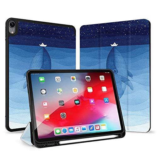 Richyun iPad Air 4 Hülle 2020 10,7 Zoll mit Stifthalter, Smart Trifold Schutzhülle Leder mit Auto Sleep/Wake für iPad Air 4. Generation, Blauwal