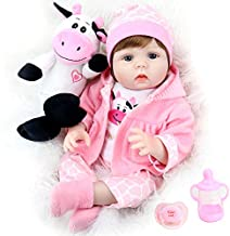 Aori Lifelike Reborn Baby Dolls 22 Inch Real Looking Weighted Reborn Doll with Pink Clothes and Cow Toy Accessories Best Birthday Set for Girls Age 3
