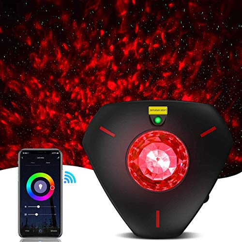 Star Projector Night Light Galaxy Projector Light Smart Life Work with Alexa Google Home Ocean Wave Night Sky Projector Star Lights for Bedroom for Baby Kids Adults (WiFi Control) (Black)…