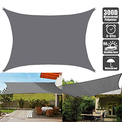 GAFEY Anti-UV Sun Shade Sail, Rectangle Outdoor Patio Party Sunscreen Canopy Sunsail Sunscreen Shelter Gray Sunscreen Awning Canopy Shelters (Size : 4x7m)