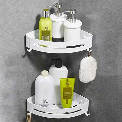 CROSOFMI Duschregal, Duschablage Ohne Bohren für Bad Küche Organizer, Aluminium (Dreieck, Weiß,2 Packungen)