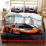 Ropa de cama de 135 x 200 cm, juego de ropa de cama 3D con diseño de coche deportivo y personalidad, microfibra, funda de edredón y fundas de almohada con cremallera