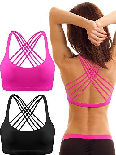 2 Packungen Damen Gepolstert Sport BH Kreuz Rücken BH Workout Riemchen BH Nahtlose Bequeme Yoga BH (XL, Schwarz und Rose Rot)