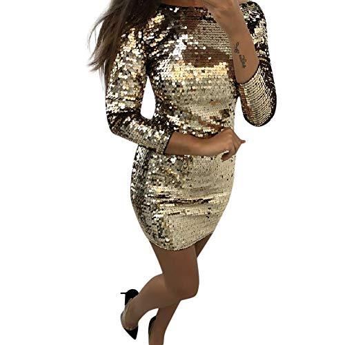 Longra Damen 1920er Jahre Paillettenkleid Langarm Rundhals Bodycon Sexy Bleistiftkleid Etuikleid Elegant Festlich Minikleid Sparkly Glitzer Partykleid Ballkleid Abend Cocktailkleid (L, Gold)
