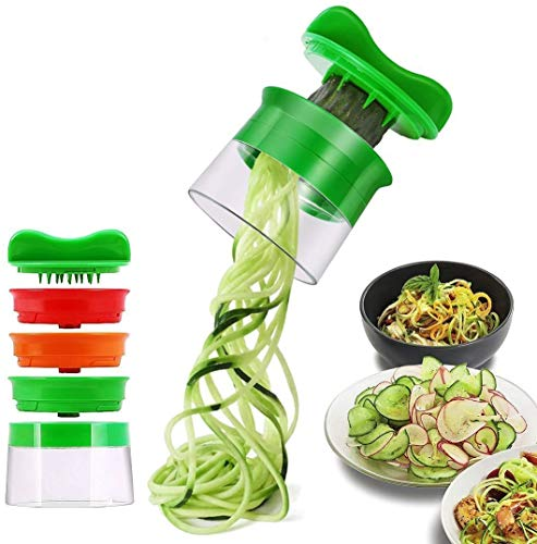 ELIRIVAWET Spiralschneider Hand für Gemüsespaghetti, 3-Klingen Gemüse Spiralschneider, Gemüsehobel für Karotte, Gurke, Kartoffel,Kürbis, Zucchini, Zwiebel