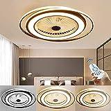 Ventilador De Techo con Luz LED Regulable Moderna Invisible con Iluminación Que Atenúa La Lámpara De La Sala De Estar del Dormitorio De La Lámpara Simple, Marrón