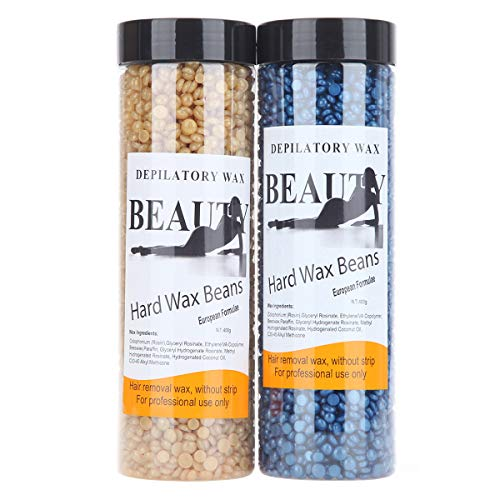 Bonjanvye Hair Removal for Men Hard Wax Strip Free Hard Wax Beans 800g (Glitter Blue and Gold)