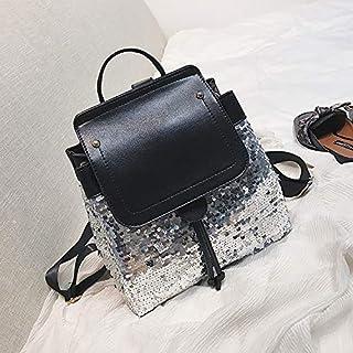 YKDY Bag Sequin Drawstring PU Leather Double Shoulders Girl School Bag Backpack Travel Bag (Black) (Color : Silver)