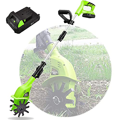 lomanis YLJJ Cultivators,Electric Cordless, 20V Portable Hand Tiller, with Rechargeable Battery and Charger, 97-127cm Adjustable Handle, Held Soil cultivators for Gardens Vegetable Fields