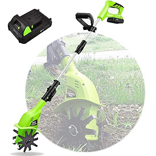 Arado eléctrico de jardín ajustable, mini cultivador manual Earthwise, profundidad de labranza de 25 cm y ancho de 10 cm, motocultor Earthwise de batería de bajo ruido para deshierbar, aflojar el suel