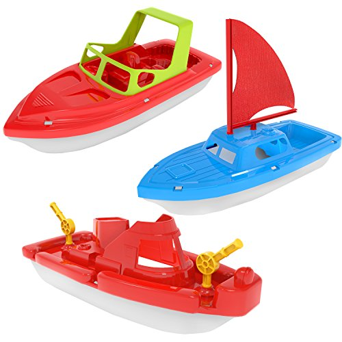 FUN LITTLE TOYS Bath Boat Toy, Pool Toy, 3 PCs Yacht, Speed Boat, Sailing Boat,...