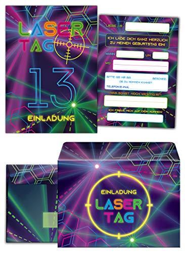 12 Einladungskarten incl. 12 Umschläge zum 13. Geburtstag dreizehnte Kindergeburtstag Lasertag Party Mädchen Jungen / Laser Tag