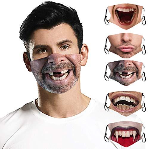 derenzide 3D Funny Printing FA ce Co Ver Dust-Proof for Halloween Fashion Cloth Fabric Face Protection, Unisex Earloop Bandana Balaclava Washable,Reusable Ma-sk