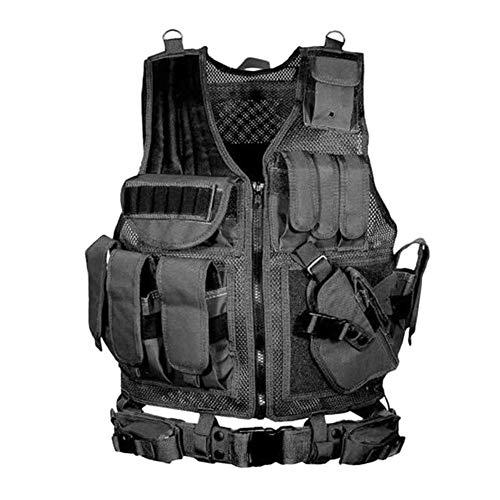 ZHIXX MALL Taktische Weste Herren,Outdoor CS Schutzweste Sicherheitsweste mit Taschen Tactical Weste Schutzkleidung (Schwarz)