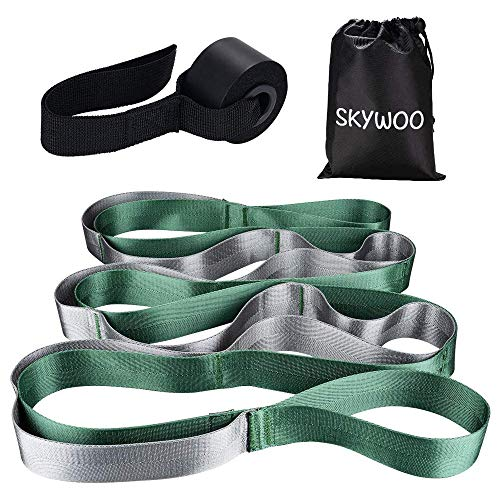 Skywoo Yoga Strap, Stretch Strap with Door Anchor 12 Loops Yoga Stretch Strap for Exercise, Physical Therapy, Pilates, Dance and Gymnastics with Carry Bag