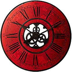 "Howard Miller Brass Works II Wall Clock 625-569 – 32"" Red Oversized Gallery with Quartz Movement"