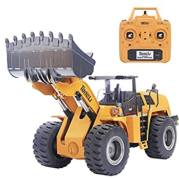 TongLi 583 1 14 Scale Metal RC Wheel Loader Toy Construction Trucks Vehicles Remote Control Outdoor Toys Bulldozer for Adults 2.4Ghz Powerful Upgraded with LED Lights and Simulation Sound