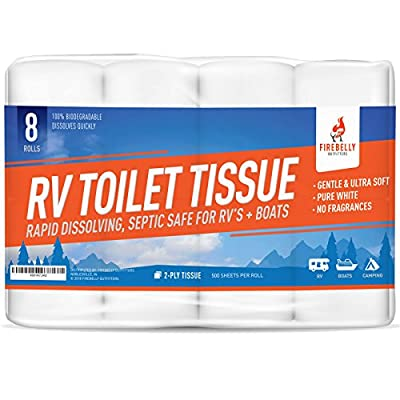 Firebelly Outfitters RV Toilet Paper, Septic Tank Safe - 8 Rolls, 2-Ply 500 Sheets - Fast Dissolve Bath Tissue for Camping, Marine, RV Holding Tanks, Reduces Camper Sewer System Clogs, Biodegradable