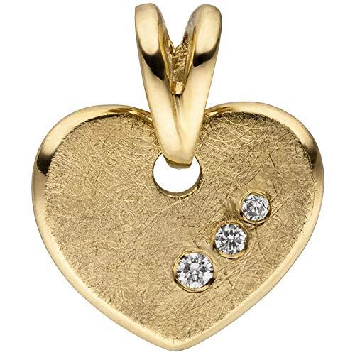 Anhänger Herz 585 Gold Gelbgold eismatt mit 3 Brillanten 10x11,4mm Herzanhänger