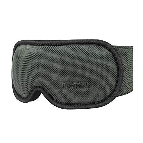 Schlafmaske Reise, HOMMINI Schlafbrille Augenmaske mit Verstellbarem Band Augenmaske für komplette Dunkelheit, Bequem für Kinder und Erwachsene, Reise-Schlafhilfe, Schwarz
