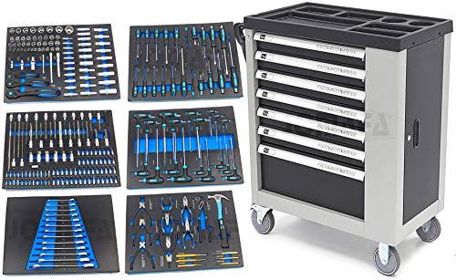 Carro de taller 7 cajones con herramientas en PULGADAS y modulos en fibra de carbono, 245 piezas