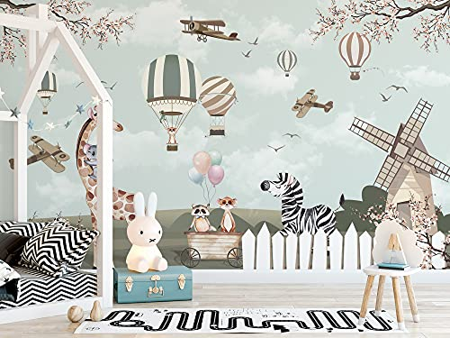 Murwall Kids Wallpaper Woodland Animals Wall Murals for Nursery Vintage Aircraft and Windmill Wall Print Hot Air Balloon Wall Art