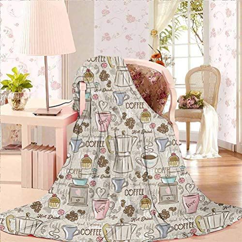 70' W x 84' L Modern Fleece Blankets Ultra Luxurious Warm Coffee Time Vintage Espresso Machine Cupcakes Beans Cute Design Beige Pale Pink and Umber