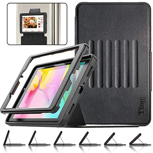 Timecity Case Compatible for Galaxy Tab A 8.0' 2019 (SM-T290/T295/T297), Three-layer Protection Heavy Duty Shockproof Rugged Case Cover with Magnetic Stand and Card Holder for Galaxy Tab A8, Black