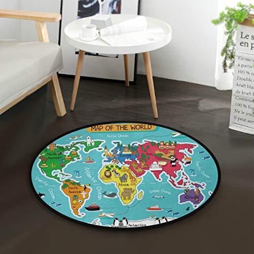 AMONKA Tapis rond pour enfants - Motif carte du monde - Antidérapant - Pour les activités des enfants - Pour la chambre à coucher, la salle de jeux - Diamètre : 91,9 cm