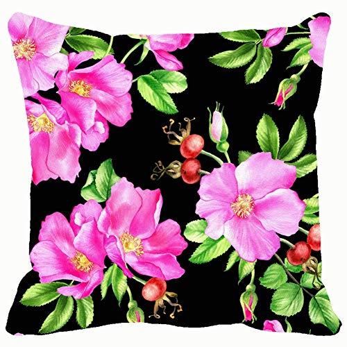 Acuarela hojas flores rosa cadera naturaleza antioxidante naturaleza Throw almohadas fundas fundas de cojín funda de almohada hogar sofá sofás almohadas almohadas 45,7 x 45,7 cm