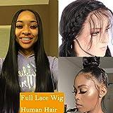 Pelucas Full Lace Natural Pelucas con Frontal [Full Head Lace] con Baby Hair 100% Pelo Natural (Densidad: 130%) - 14'/35CM Negro Natural- Lisa