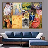 YGKDM Modular Canvas Home Decor Prints Painting 1 Set/pcs Cassatt and Morisot Old Famous Poster Wall Art Figures Pictures Living Room 30x45cmx1pcs Frame