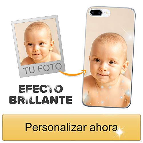 Funda móvil Personalizada con Efecto Brillante para Apple iPhone 7 Plus / 8 Plus con Tu Foto, Imagen o Frase - Funda Blanda en TPU Gel Transparente - Impresión de máxima Calidad