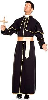 Adults Men Elegant Black Priest Cosplay Costume Male Pope Robe Masquerade Party Dress Purim Halloween Christmas