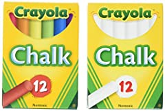 Not intended for use on school chalkboards White Chalk Sticks are made to be used on children's chalkboards. This Set Includes * Crayola White Chalk 12 Pack * Crayola Color Chalk 12 Pack