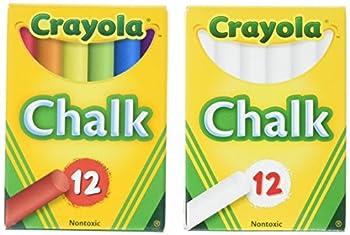 Crayola Non-Toxic White Chalk 12 ct box and Colored Chalk 12 ct box  Bundle