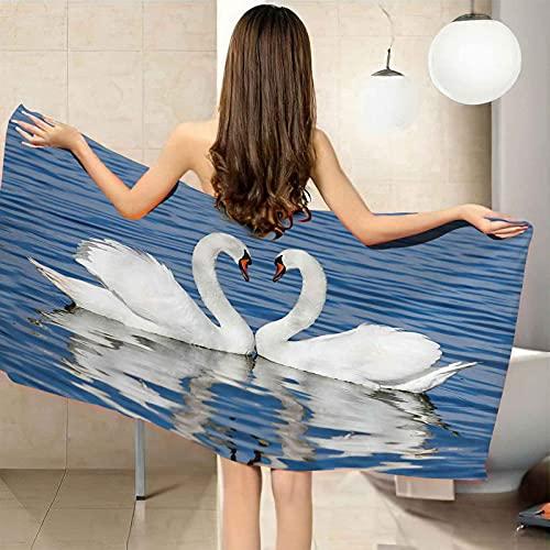 IRUAIF Toalla de Playa de Microfibra 80x160 cm Cisne Blanco Animal romántico Toalla de Piscina Grande Esterilla de Yoga Seque Rápidamente Absorbente prevención de Arena para Viaje Picnic