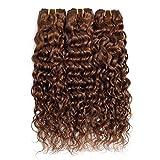 FEEL ME Light Brown Brazilian Hair Weave Bundles Water Wave Color 4 Brazilian Water Wave Hair 3 Bundles(20 22 24) Unprocessed Brazilian Virgin Human Hair Bundles Extensions