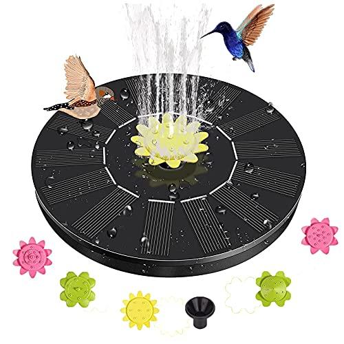 FLYEER 2021 Solar vijverpomp met 1,4 W monokristallijn zonnepaneel, drijvende fonteinpomp op zonne-energie met 5 sproeiers kit voor vogelbad, vissen en vijver