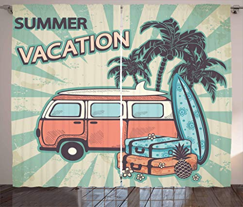 """Lunarable Retro Curtains, Hippie Van Near Coconut Palm Trees Floral Suitcases and Surf Boards, Living Room Bedroom Window Drapes 2 Panel Set, 108"""" X 63"""", Blue Seafoam"""