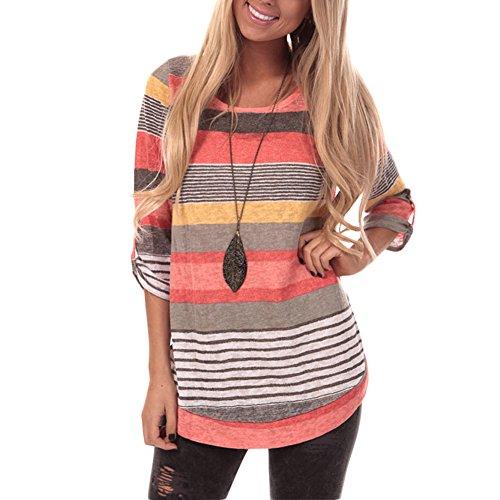 Lover-Beauty Mujeres Verano Casual Cuello V Camiseta Rayas Tops Plus Size
