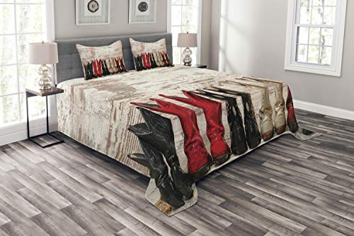Ambesonne Western Bedspread Set King Size, American Legend Cowgirl Leather Boots Rustic Wild West Theme Cultural Print, Decorative Quilted 3 Piece Coverlet Set with 2 Pillow Shams, Beige Red Black