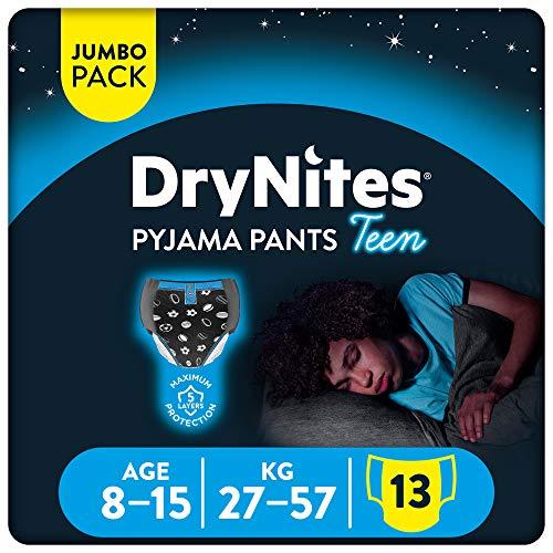 Huggies DryNites Mutandine Assorbenti per la Notte, Ragazzo, 8-15 Anni (27-57 kg), 1 confezione da 13 pezzi