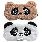 Hilloly Antifaz para Dormir 2 pcs Linda Panda Antifaz para Dormir Animales Dormir Máscara Máscara de Ojos Antifaz de Dormir de Felpa para Niños y Niñas, Adultos