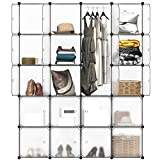 <span class='highlight'><span class='highlight'>LANGRIA</span></span> 16 Modular Shelving Storage Organizing Closet with Translucent Doors and Cube Design for Clothes, Shoes, Toys and Books (147 * 37 * 178cm)